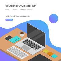 Flaches isometrisches Arbeitsplatz-Setup mit blauer Steigungs-Hintergrund-Vektor-Illustration