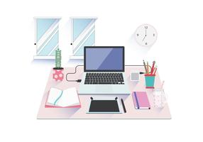Isometric Workspace Minimalist Vector