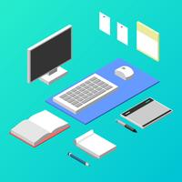 Isometric Illustrator Workspace Vector