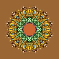 Mandala Decorative Ornaments Brown Background Vector