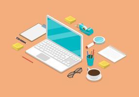 Illustration de fond plat isométrique espace de travail