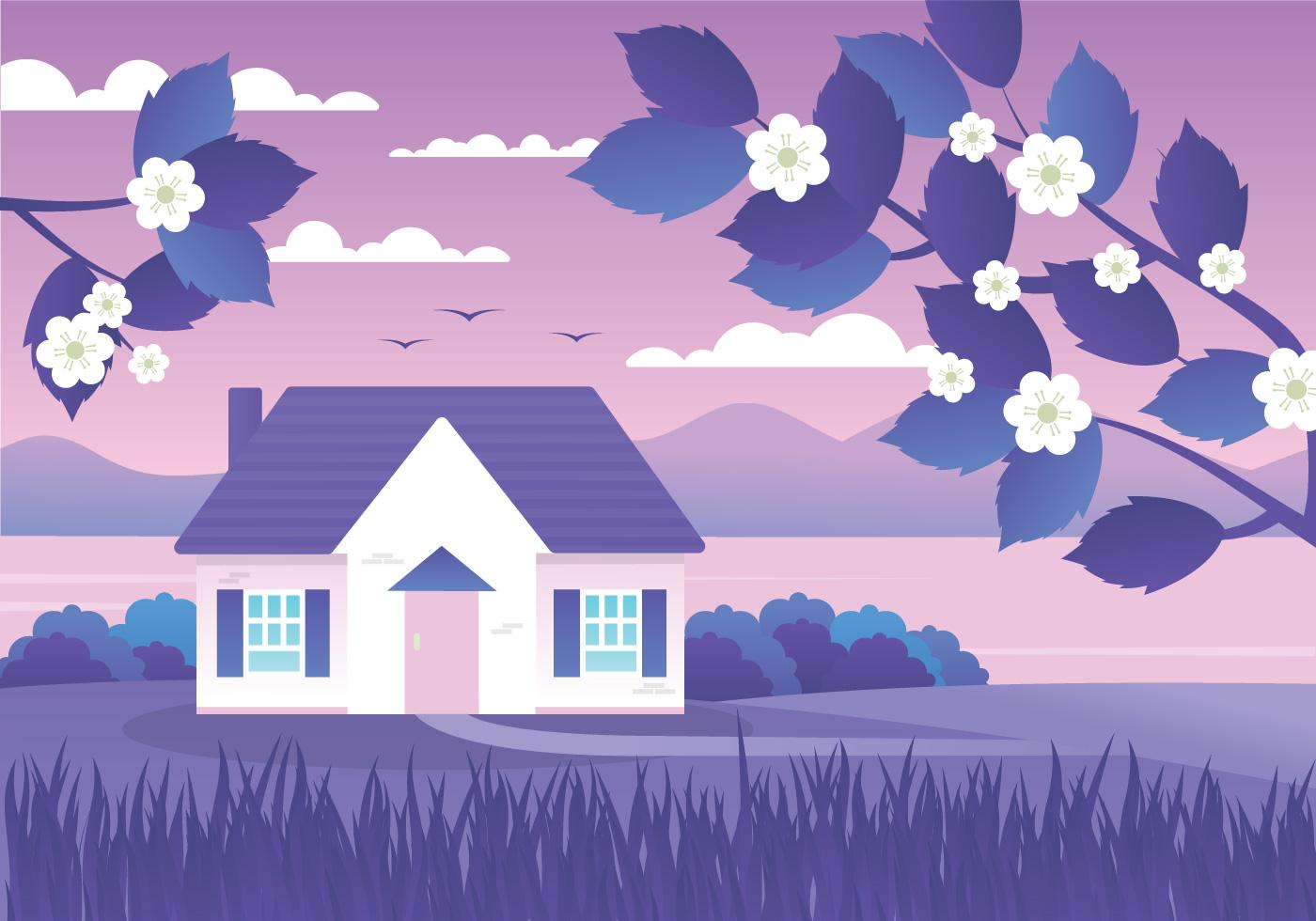 Purple Sunset Landscape Background Download Free Vectors Clipart Graphics Vector Art