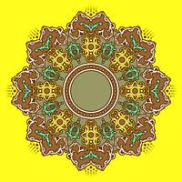 Mandala Decorative Ornaments Fundo Amarelo Vector