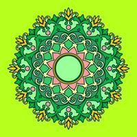 Mandala Decorative Ornaments Green Background Vector