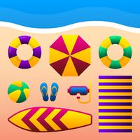 Summer Holiday Vacation Accessories On Sandy Beach Illustration.