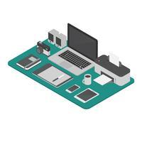 Isometrische Arbeitsplatz-Vektor-Illustration