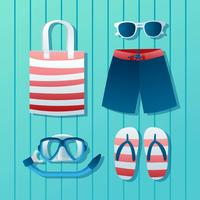 Beach Stuff Accesories Knolling Vector