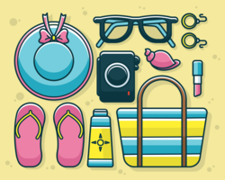Accessoires de plage Knolling