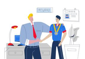 Good Boss Reward The Best Employee Vector Flat Illustration