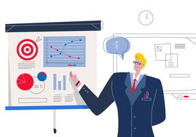 Erfolgreicher Chef stellte Firmen-Leistungs-Vektor-Illustration dar