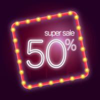 Neon Sign Illustration. 50% sign