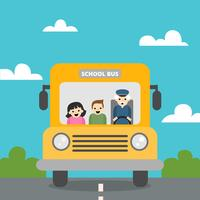 Cute-school-bus-with-nature-scene-with-children-and-old-man-inside-to-back-to-school