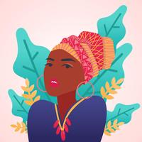 Woman with African Headpiece on Pink Background