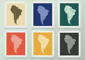Paquete de vectores moderno patrón de mapa de América del sur