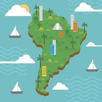 Flat Modern South America With Detail Bakgrund Vektor illustration