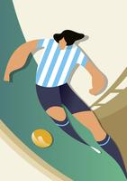 Argentina World Cup Soccer Players Vector Illustration