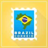 De vlakke Moderne Postzegel van Brazilië met gradiënt vectorillustratie als achtergrond