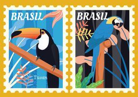 Pack de vecteur animaux timbre-poste Brésil