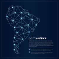 Polygonal Blue Lines South America Map With Glowing Dots Vector Illustration