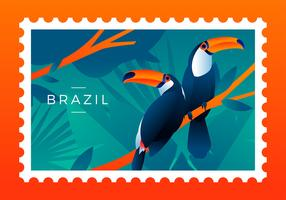 Brasil, estampilla, pájaro, vector