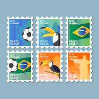 Colección Vector Brasil Postage Stamps
