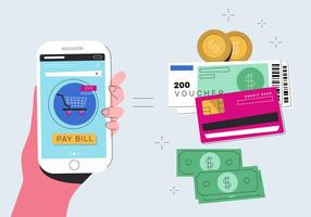 Electronic Money Transfer With Mobile Phone Vector Flat Illustration