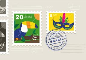 Ilustración de Brasil sello postal Vector Flat