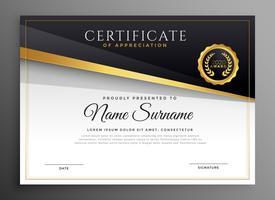 Certificado de apreciación de oro negro premium.