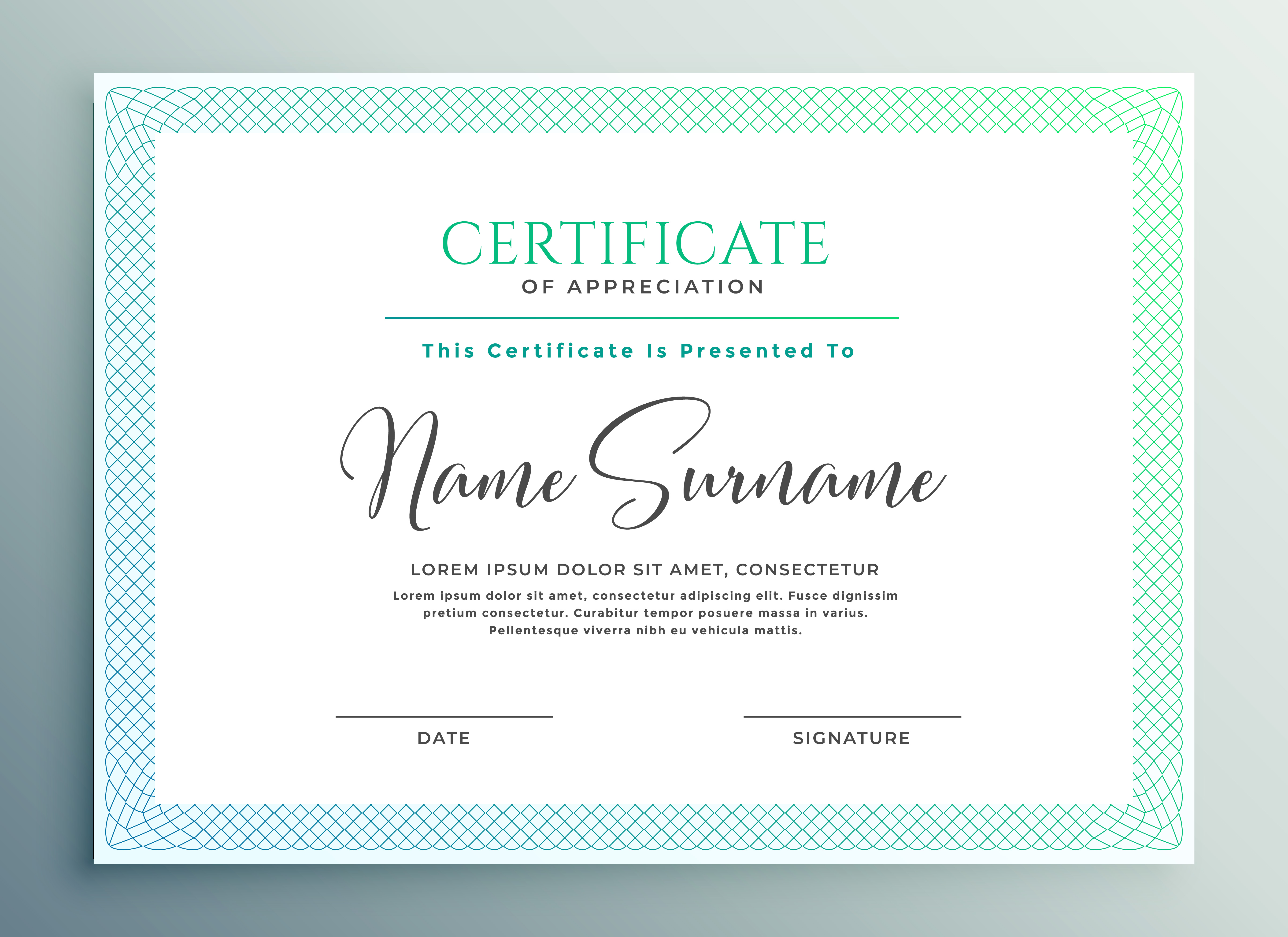 Certificate Of Appreciation Template Design Download Free Vector