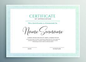 certifikat för uppskattning mall design