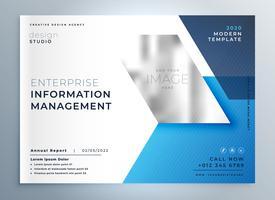 Plantilla de presentación de folleto de negocios geométrica azul