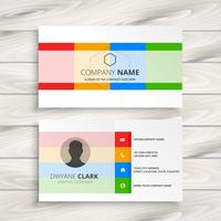 elegant white business card with color shapes
