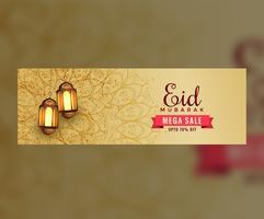 Cabeçalho de banner incrível eid venda com lanternas de suspensão
