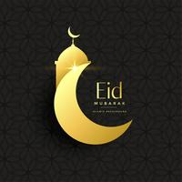 golden eid festival greeting background