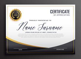 svart certifikat för uppskattning mall