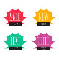 vendita e offerta tag simboli set di quattro