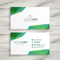abstract white business card with green shapes