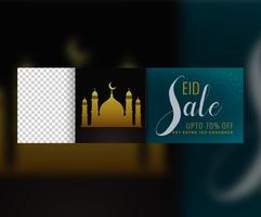 banner de venda islâmica eid mubarak com espaço de imagem
