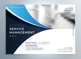 Plantilla de página de portada de revista o folleto de negocio ondulado azul