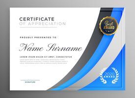 professionellt blått certifikat för uppskattning mall