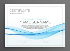 diseño elegante del certificado del diploma de la onda azul