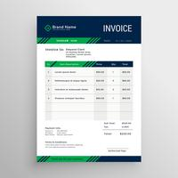 creative blue and green invoice template design