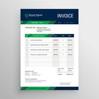 Diseño de plantilla de factura azul y verde creativo