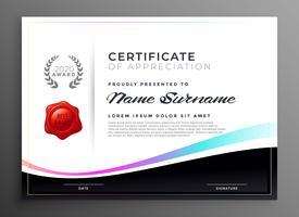 certificado de diploma elegante de modelo de agradecimento