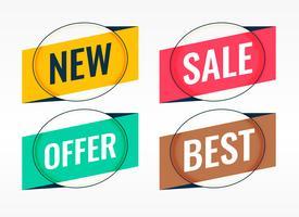 quatro banners promocionais de origami e venda