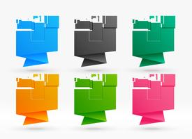 six bannières colorées d'origami abstraites