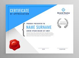 modernt blått certifikat av uppskattning design