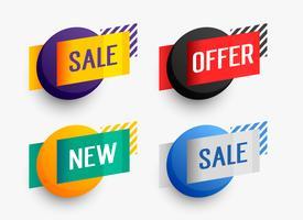 conjunto de banner de venda colorido para promoção de negócios