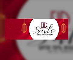 Eid banner de venta o cabecera con linternas colgantes