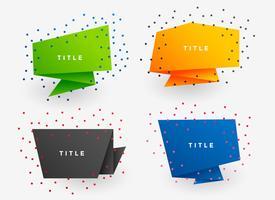 quatro banners de origami de papel colorido